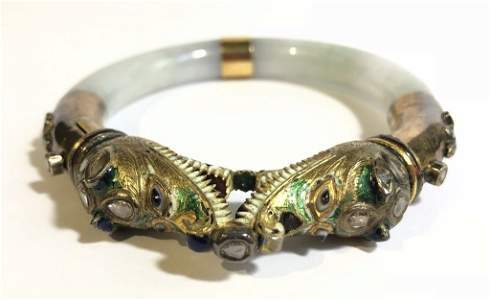 18k gold, diamond, jade Indian Mogul bracelet, c.1920