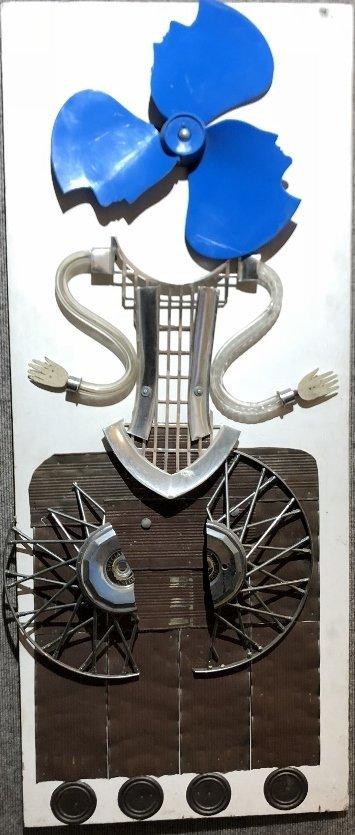 Car Caper, by Pablo Daniel Cano-mixed media sculpture