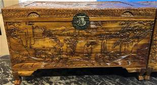 Chinese carved chest c1975village scene