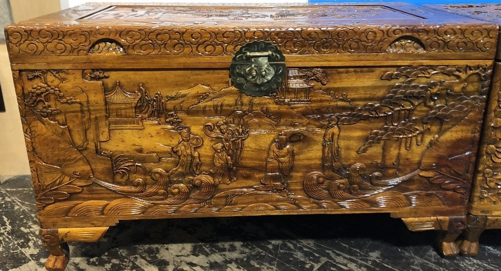 Chinese carved chest, c.1975-village scene