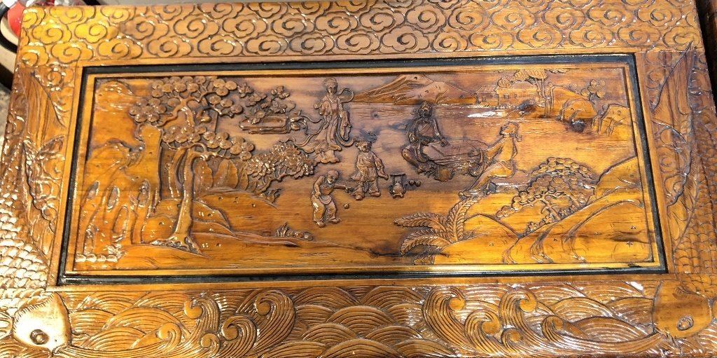 Chinese carved chest, c.1975-village scene - 2