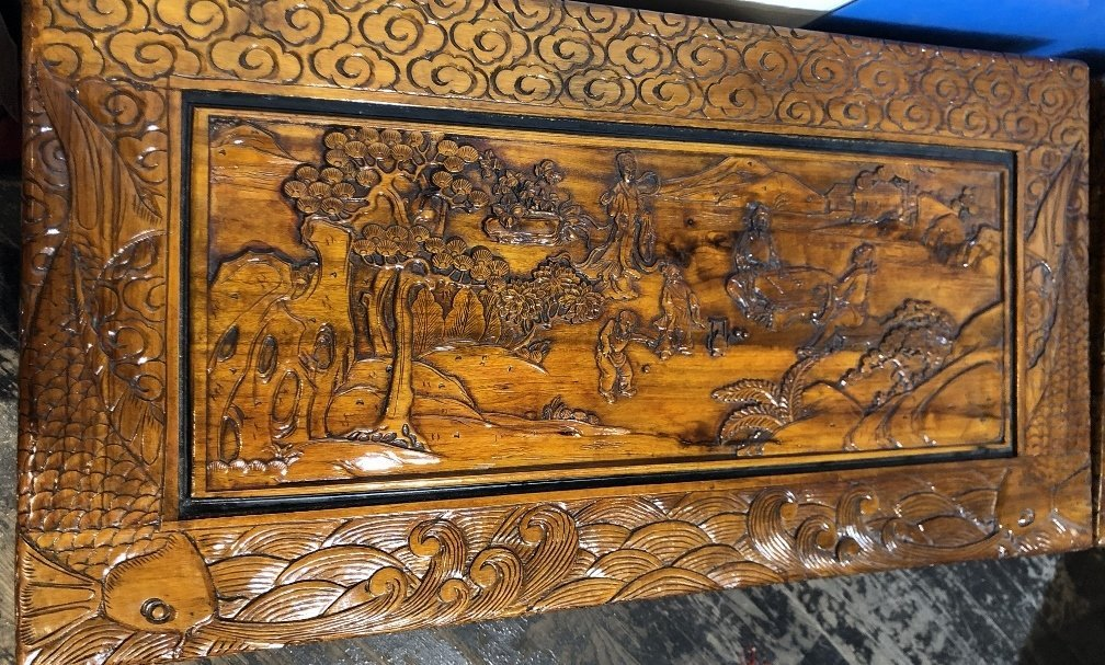 Chinese carved chest, c.1975-village scene - 3