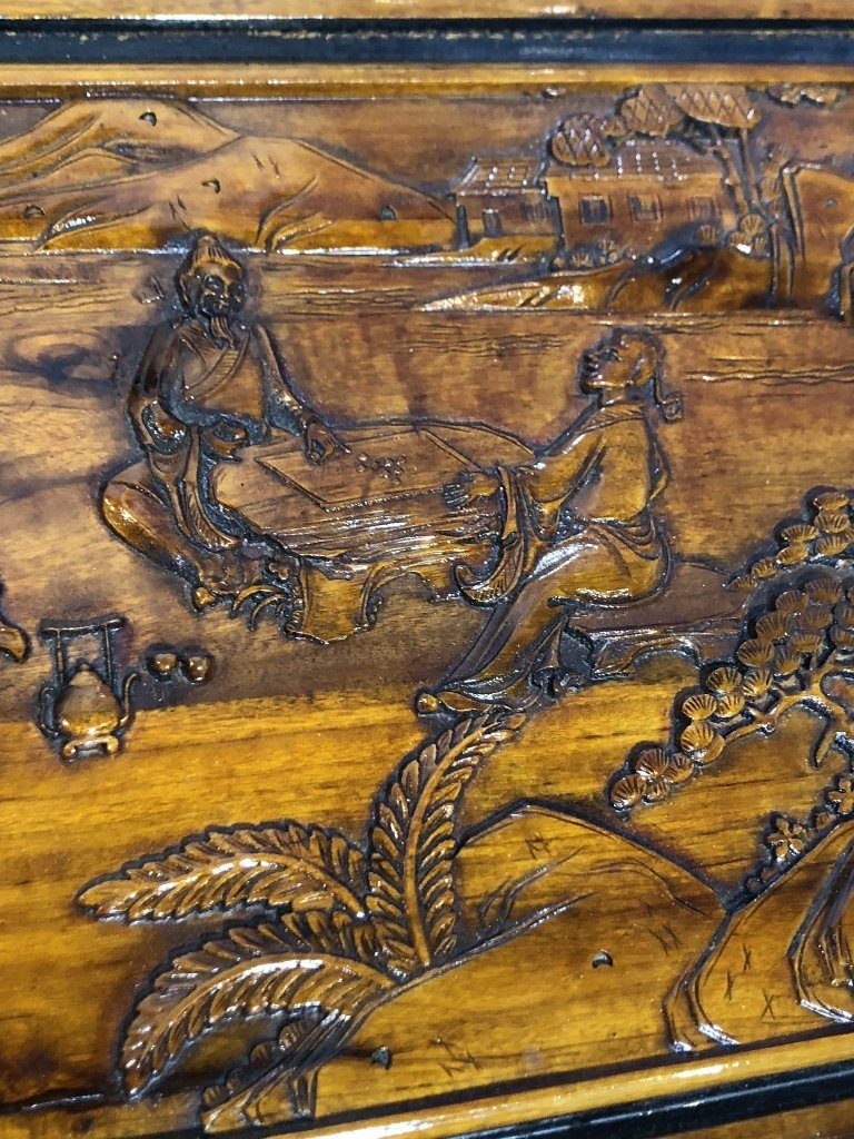 Chinese carved chest, c.1975-village scene - 4