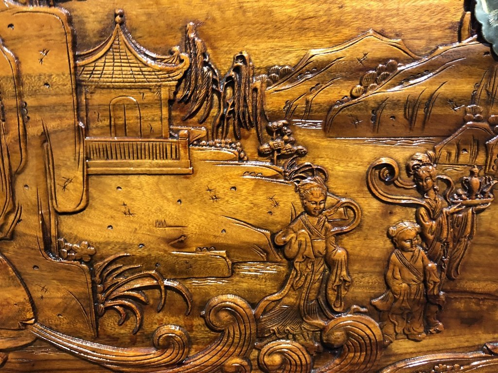 Chinese carved chest, c.1975-village scene - 5