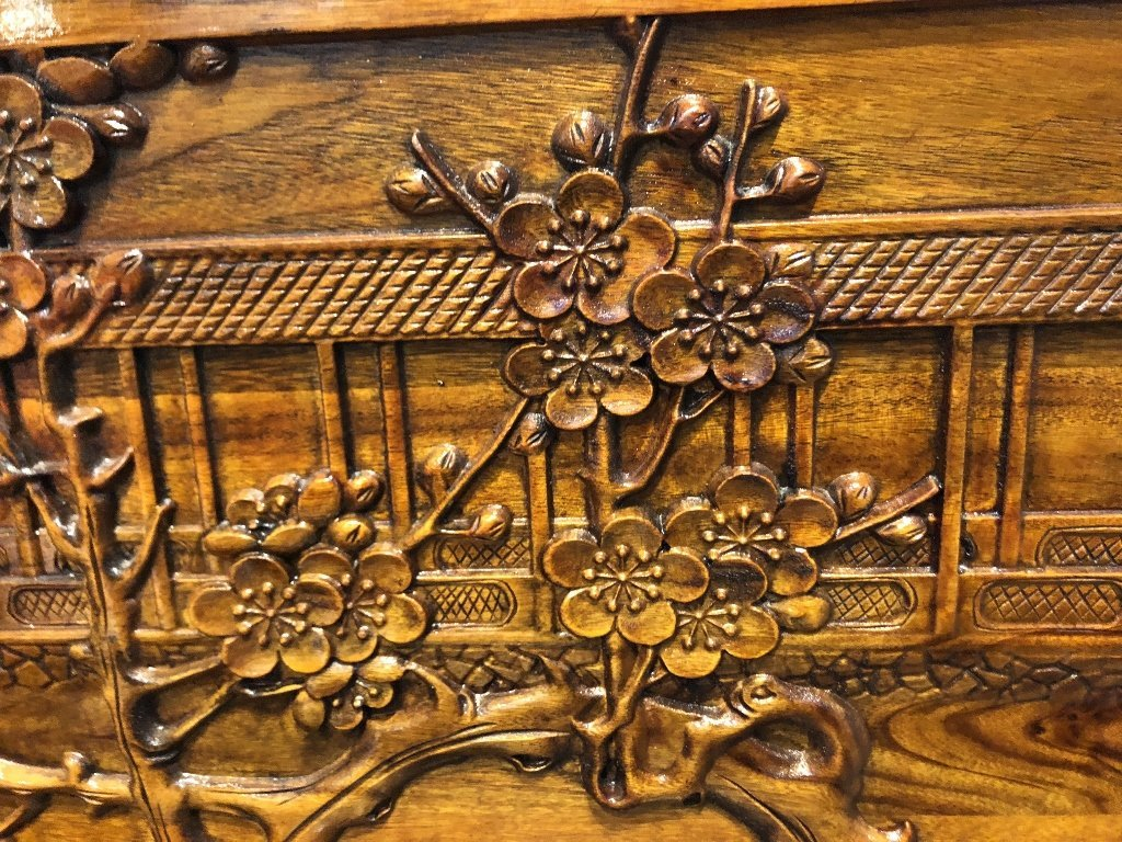 Chinese carved chest, c.1975-village scene - 6