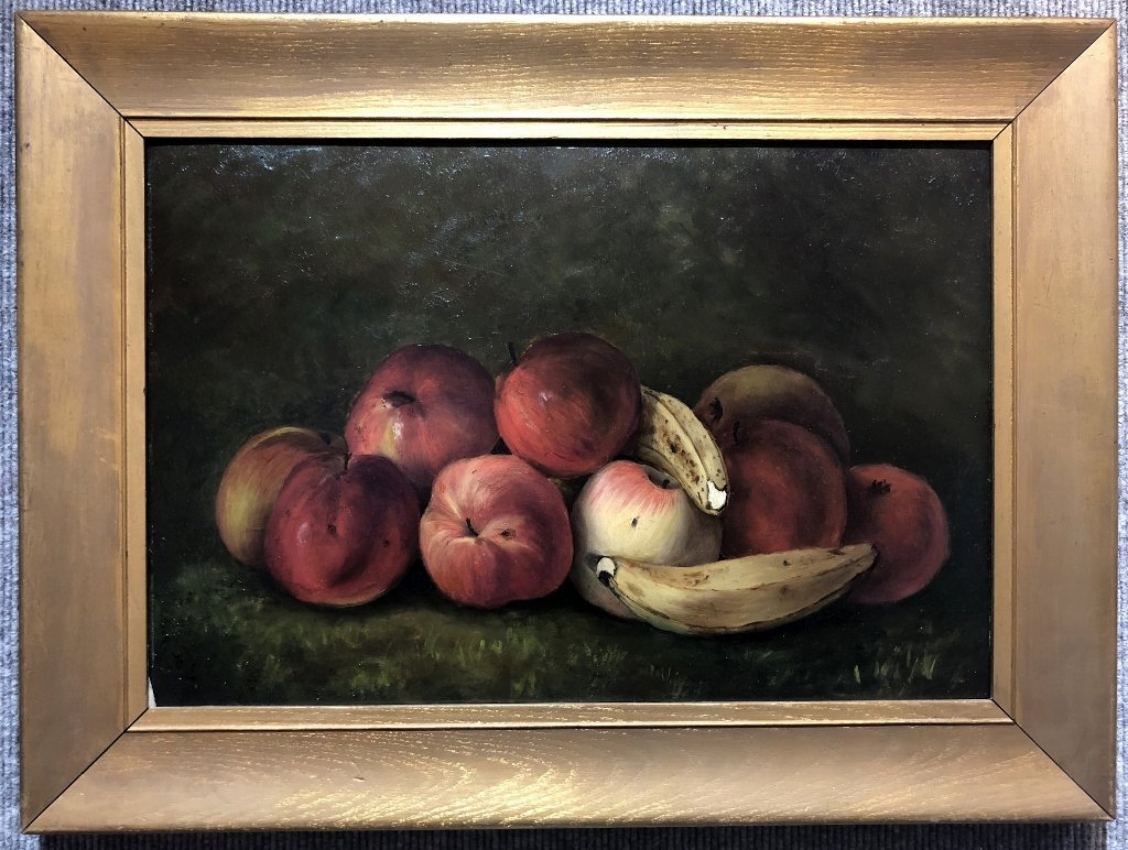 Painting on board, apples and bananas, c.1880