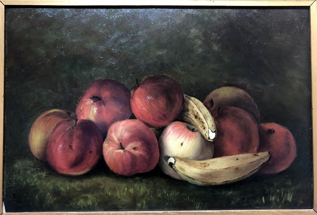 Painting on board, apples and bananas, c.1880 - 2