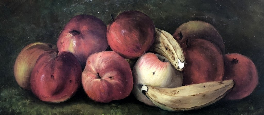 Painting on board, apples and bananas, c.1880 - 3