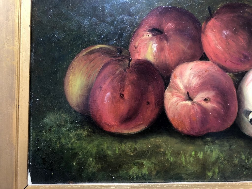 Painting on board, apples and bananas, c.1880 - 5