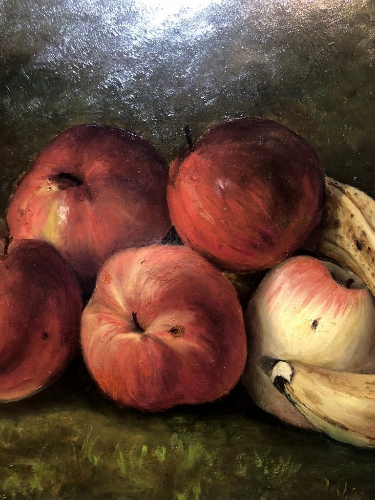 Painting on board, apples and bananas, c.1880 - 6
