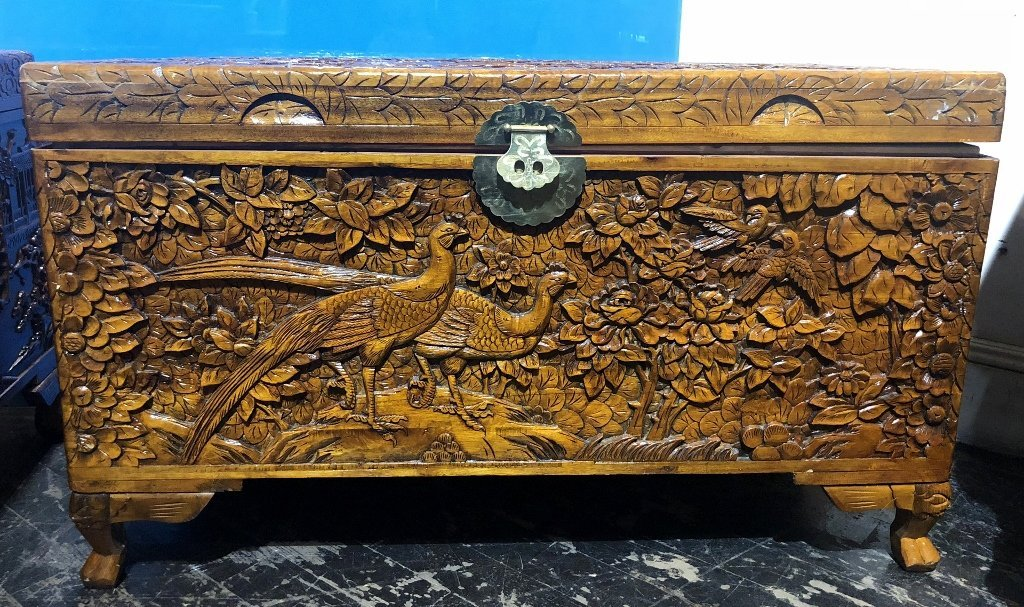Chinese carved wood chest, c.1975-flowers and birds