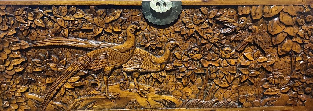 Chinese carved wood chest, c.1975-flowers and birds - 2