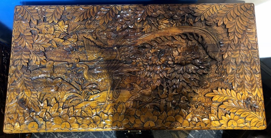 Chinese carved wood chest, c.1975-flowers and birds - 3