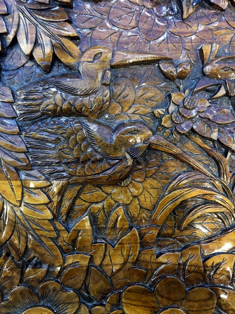 Chinese carved wood chest, c.1975-flowers and birds - 6
