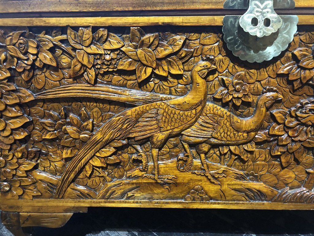 Chinese carved wood chest, c.1975-flowers and birds - 7