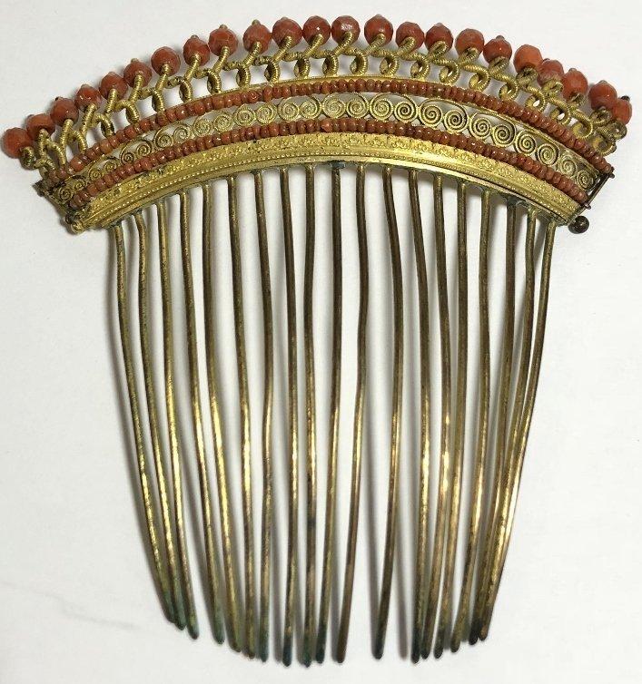 Napoleonic period gilt metal coral comb, c.1840