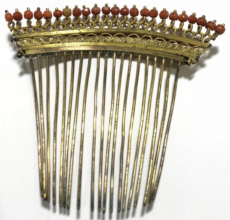 Napoleonic period gilt metal coral comb, c.1840 - 4