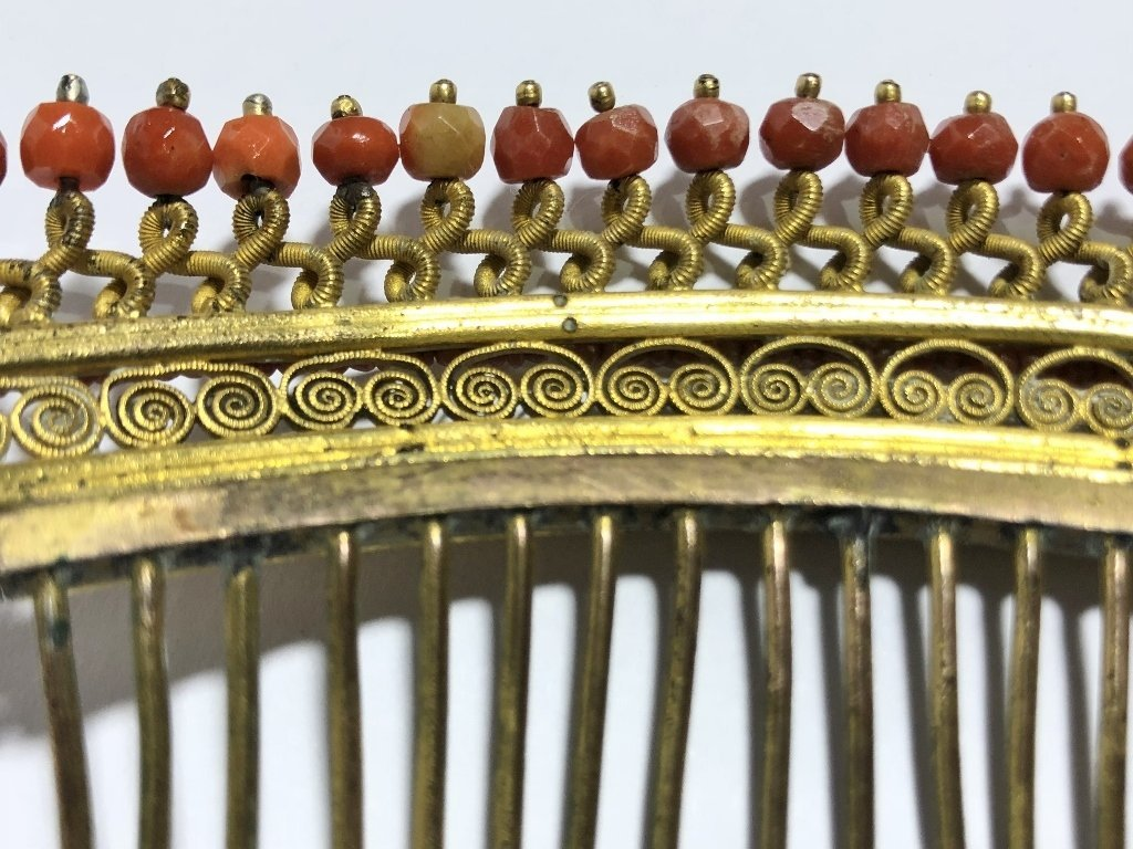 Napoleonic period gilt metal coral comb, c.1840 - 5