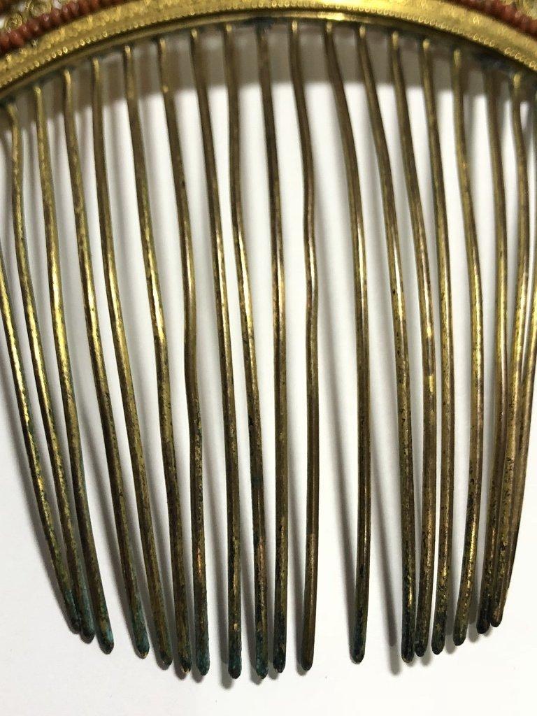 Napoleonic period gilt metal coral comb, c.1840 - 6