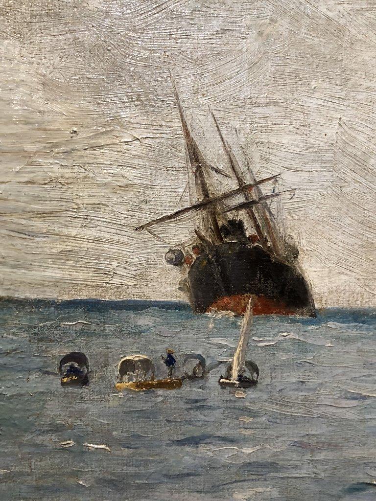 Painting of port in Spain by Gabriel Gomez, c.1880 - 10