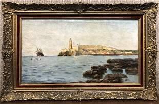 Painting of port in Spain by Gabriel Gomez c1880
