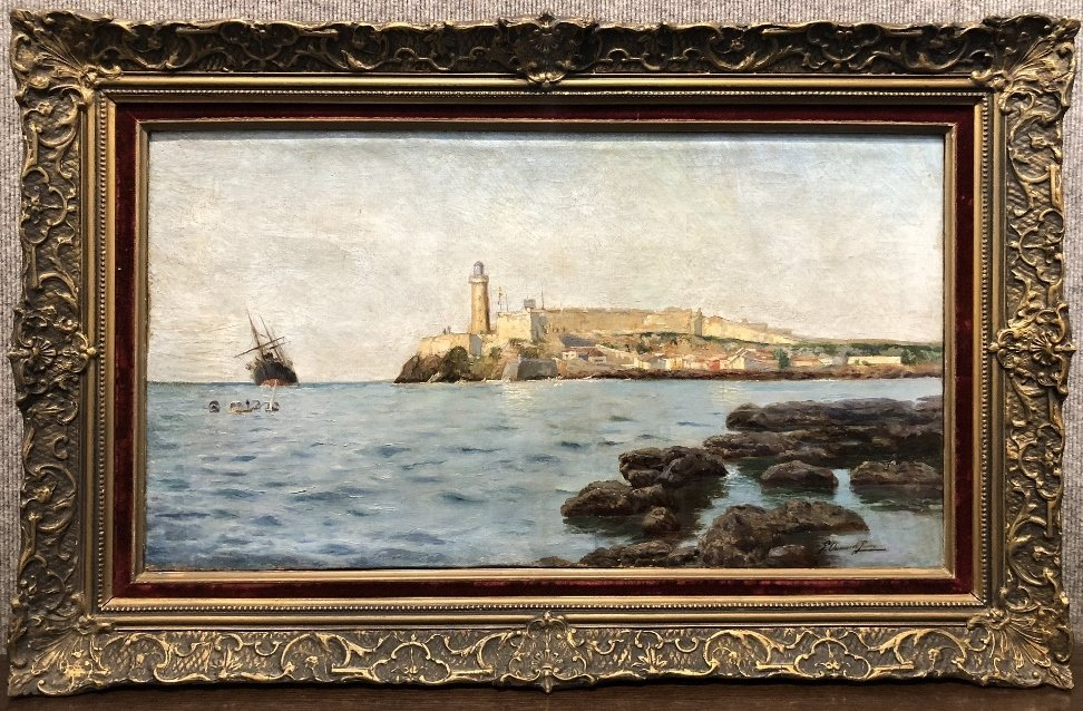 Painting of port in Spain by Gabriel Gomez, c.1880