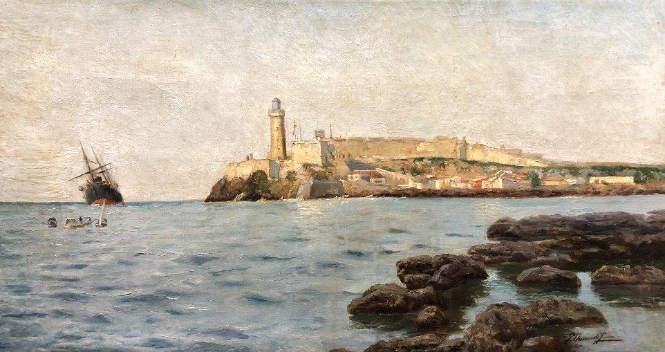 Painting of port in Spain by Gabriel Gomez, c.1880 - 2