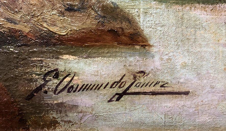 Painting of port in Spain by Gabriel Gomez, c.1880 - 3