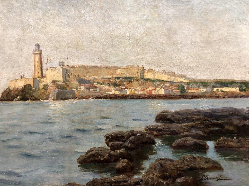 Painting of port in Spain by Gabriel Gomez, c.1880 - 4