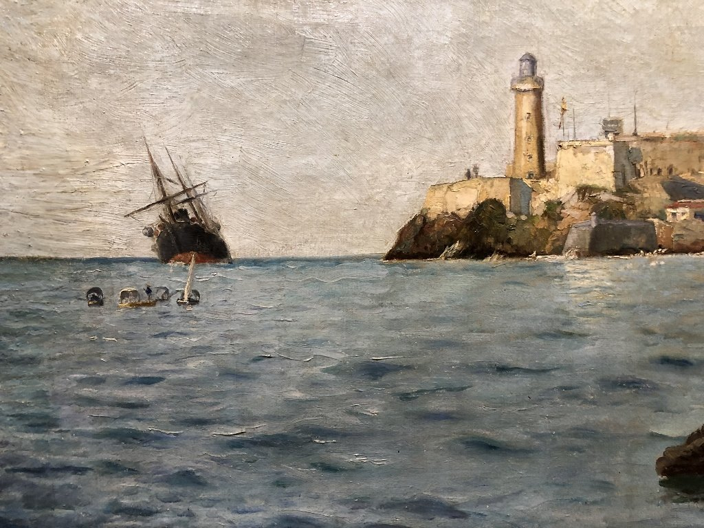 Painting of port in Spain by Gabriel Gomez, c.1880 - 5