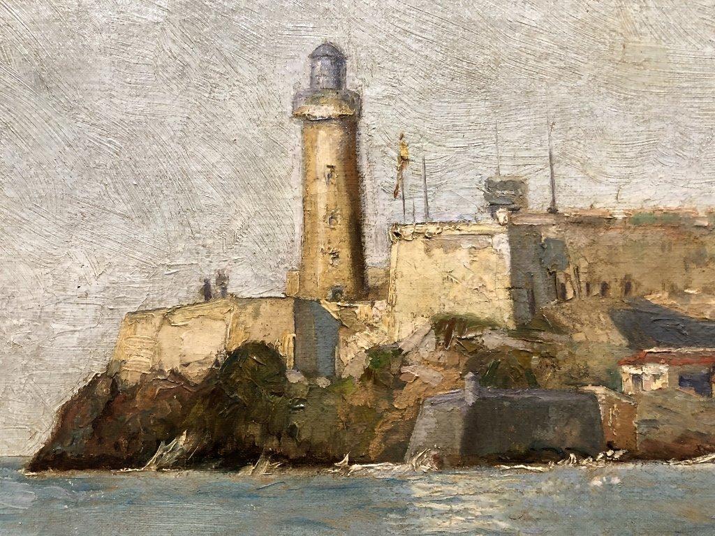 Painting of port in Spain by Gabriel Gomez, c.1880 - 6