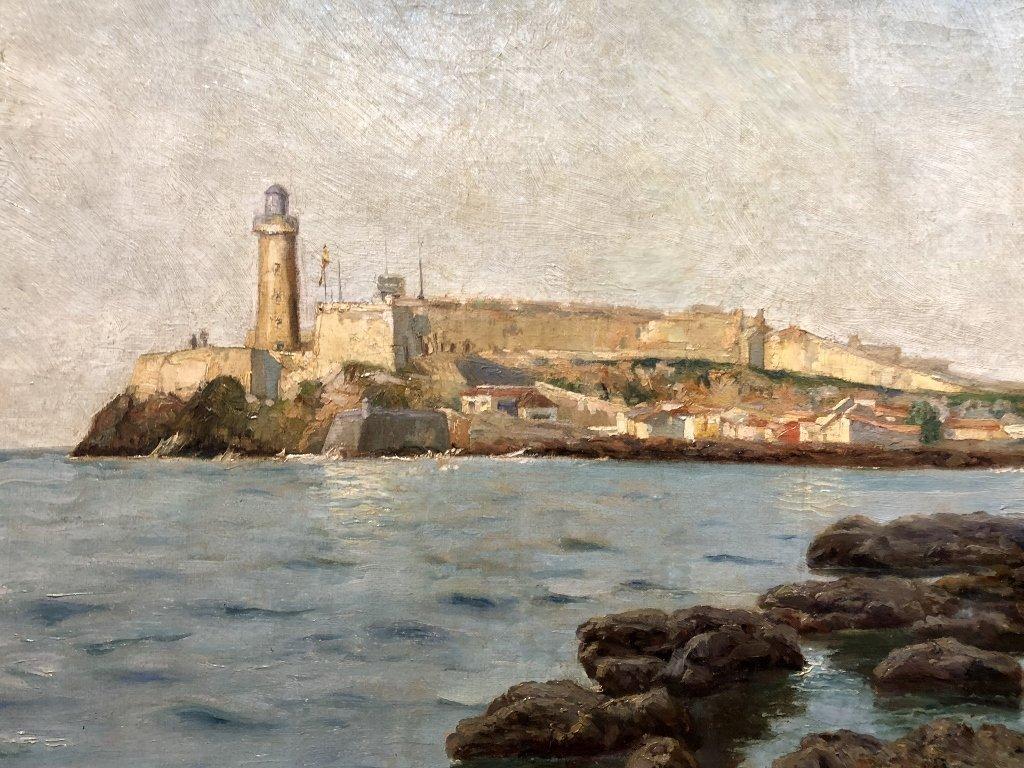 Painting of port in Spain by Gabriel Gomez, c.1880 - 8