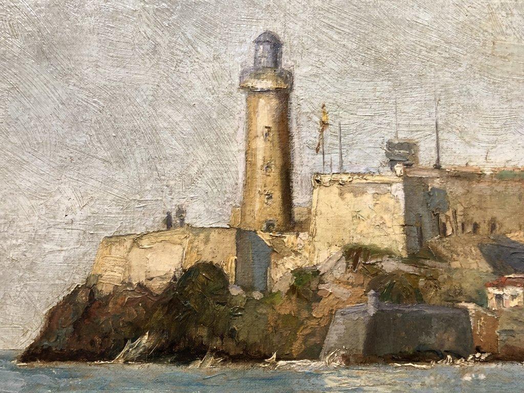 Painting of port in Spain by Gabriel Gomez, c.1880 - 9
