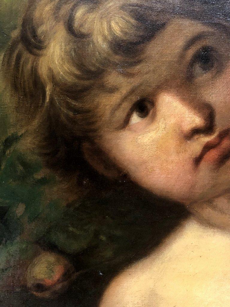 Painting of boy in garden signed:R.Garri, c.1900 - 4