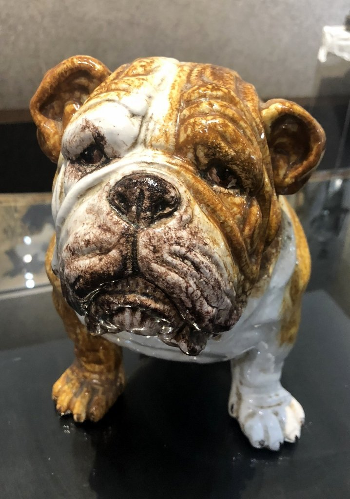 Ceramic bulldog statue, c.1970 - 3