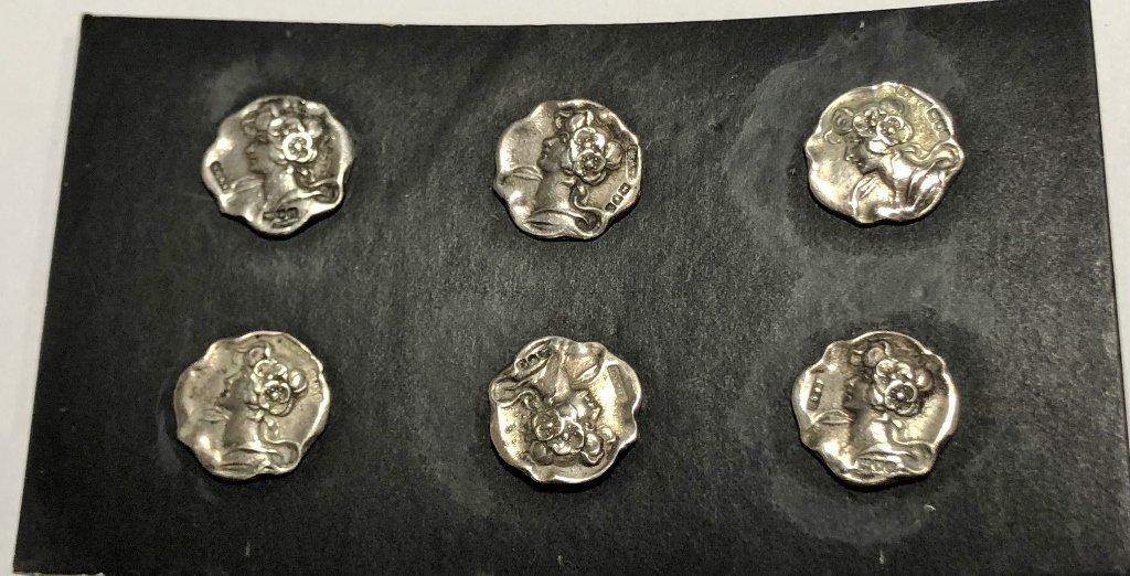 Set of Art Nouveau silver buttons, c.1890, 11.2 dwts