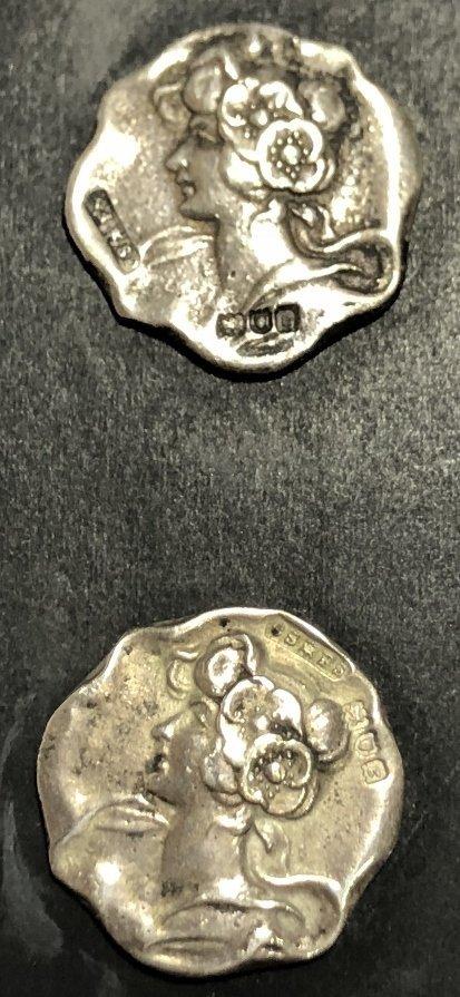 Set of Art Nouveau silver buttons, c.1890, 11.2 dwts - 4