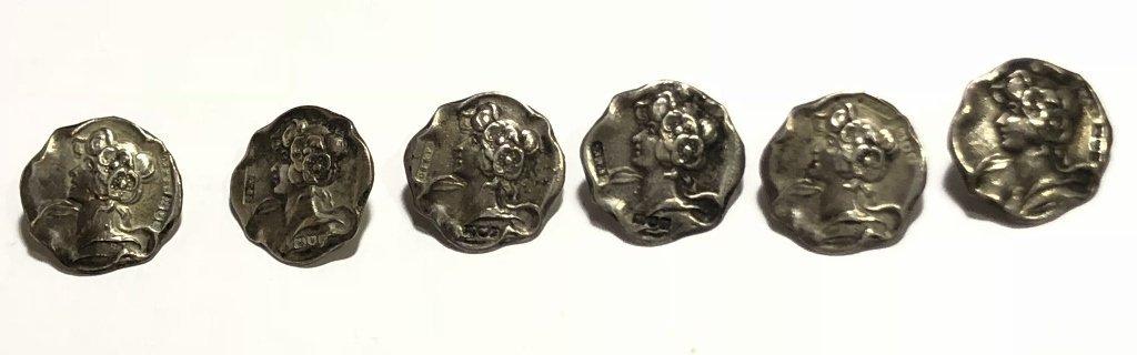 Set of Art Nouveau silver buttons, c.1890, 11.2 dwts - 5