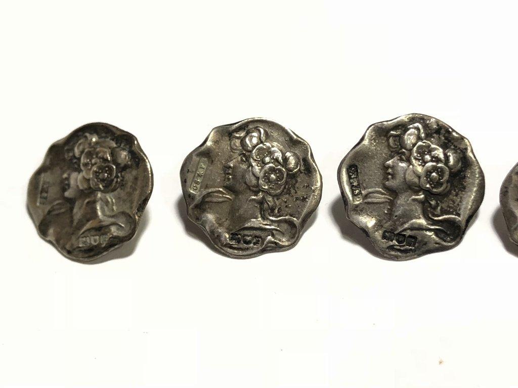 Set of Art Nouveau silver buttons, c.1890, 11.2 dwts - 6