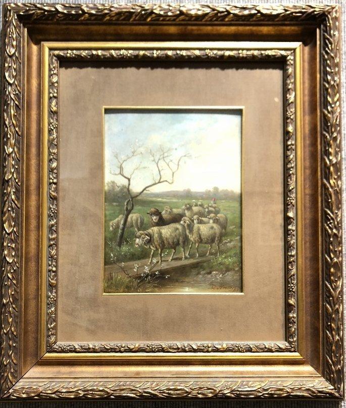Sheep painting by Adolf Nowey(Austrian), c.1880