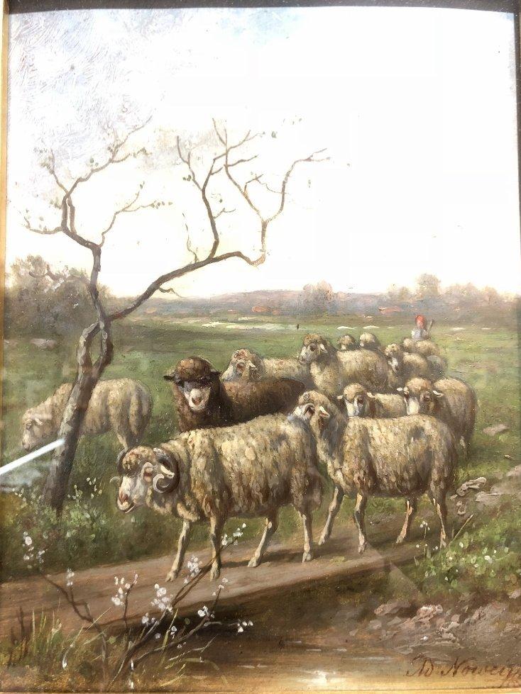 Sheep painting by Adolf Nowey(Austrian), c.1880 - 2