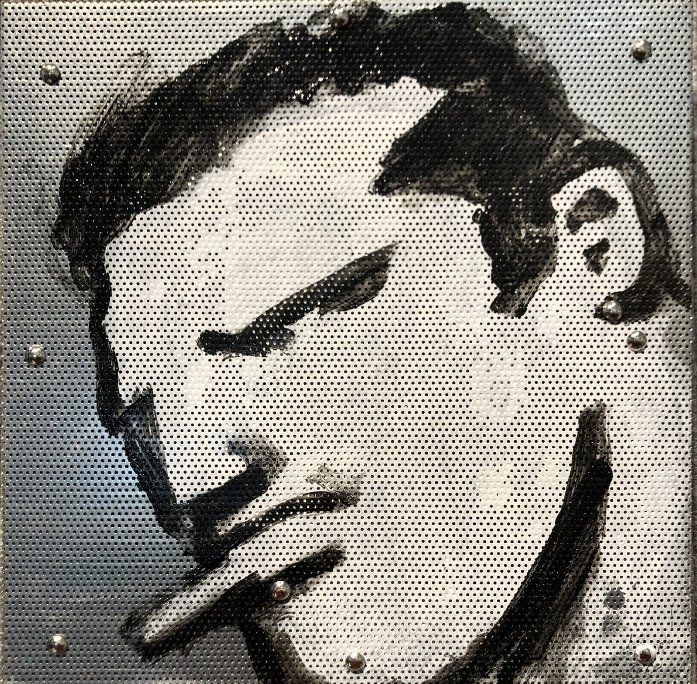 Painting on metal grill of a STUD by  Robert Loughlin