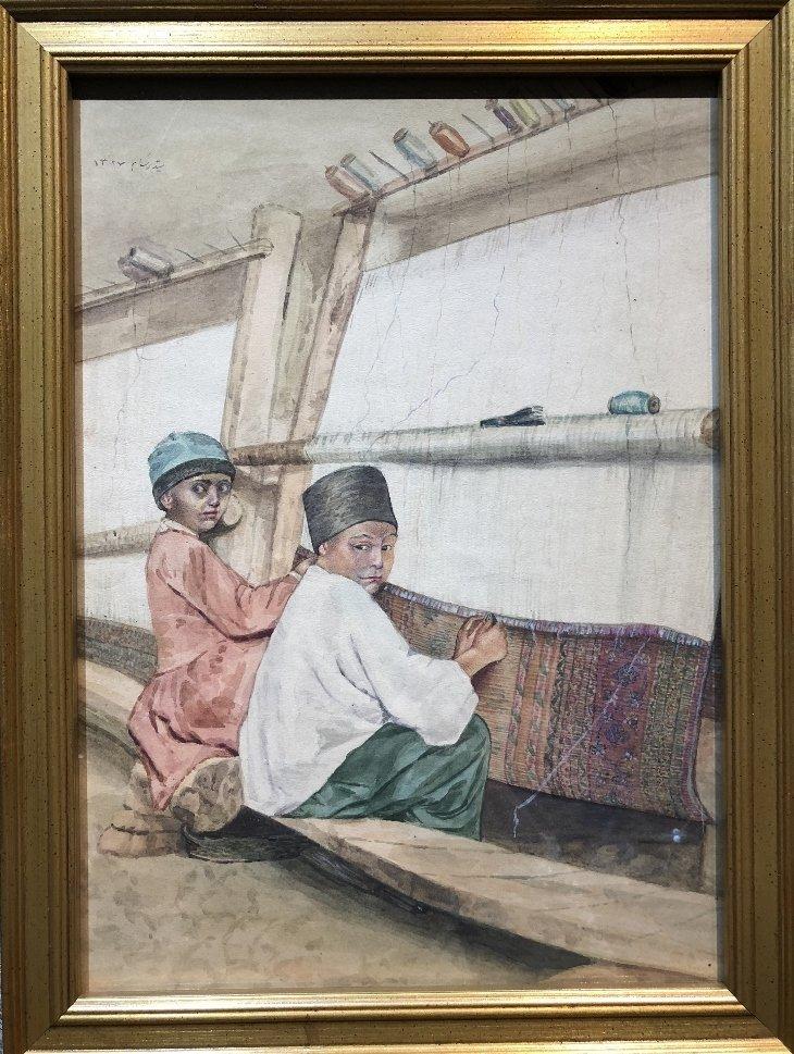 Persian watercolor of boy rug makers, circa 1930.
