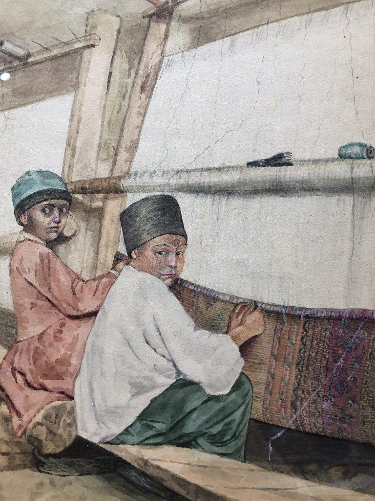 Persian watercolor of boy rug makers, circa 1930. - 2