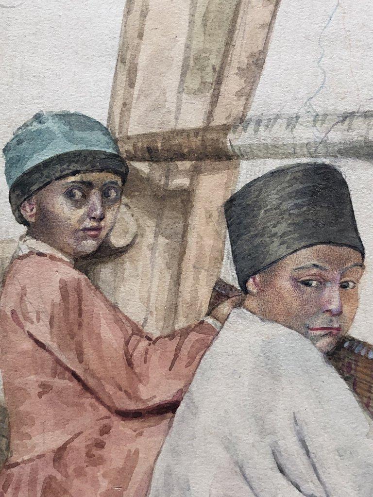 Persian watercolor of boy rug makers, circa 1930. - 4
