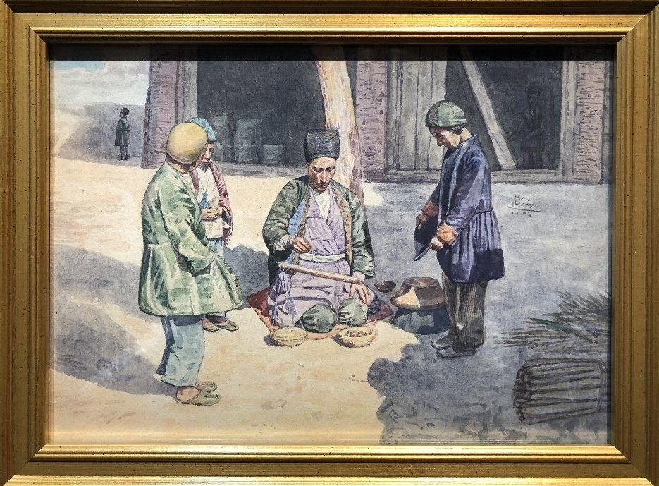 Watercolor of villagers with scale, signed