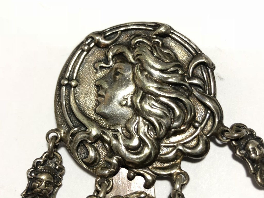 Silver plate chatelaine chain, c.1900. - 8