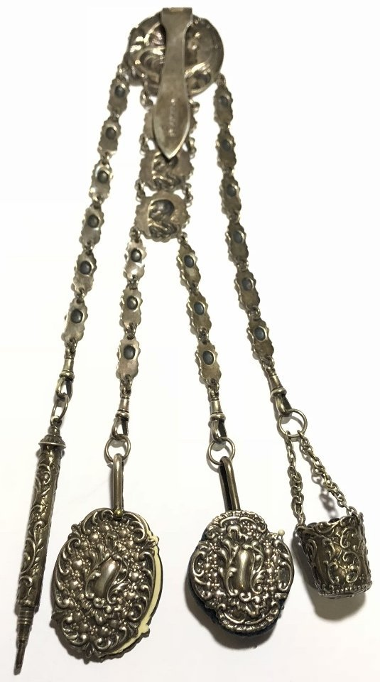 Silver plate chatelaine chain, c.1900. - 9