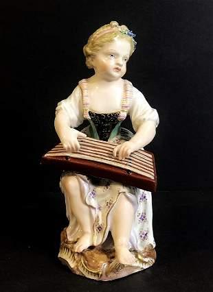 Meissen fig maiden playing instrument c1900