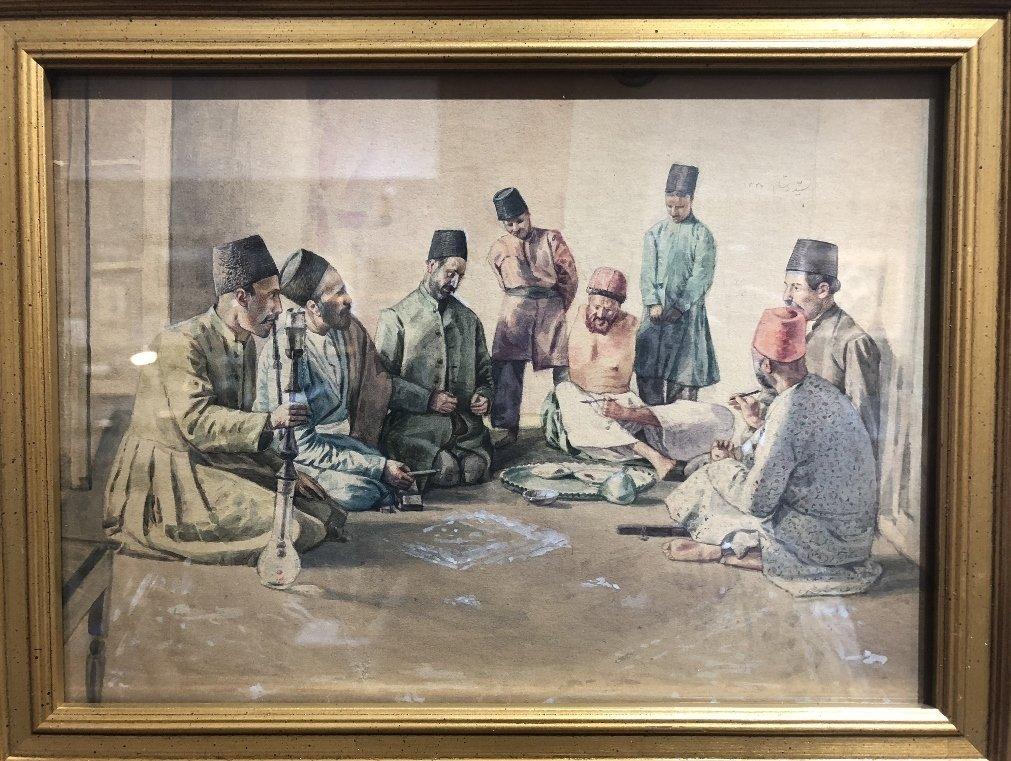Persian watercolor, 8 men w/ Hookah pipe, c.1930